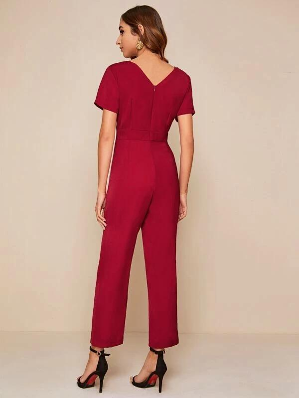 Women Zip Back Button Detail Jumpsuit