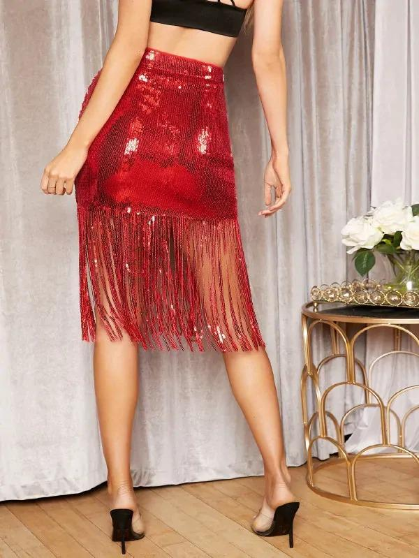 Women Zipper Fly Fringe Hem Sequin Skirt