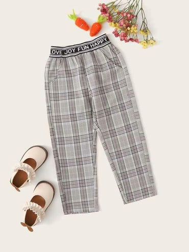 ddler Girls Elastic Waist Wales Check Pants