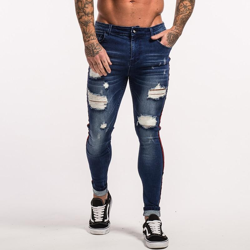 Men's Stretch Jeans Super Spray on Ripped Tight Fit
