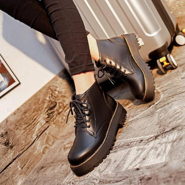 Women Ankle Boots Round Toe Lace Up Flat Fashion Design Martin Boots