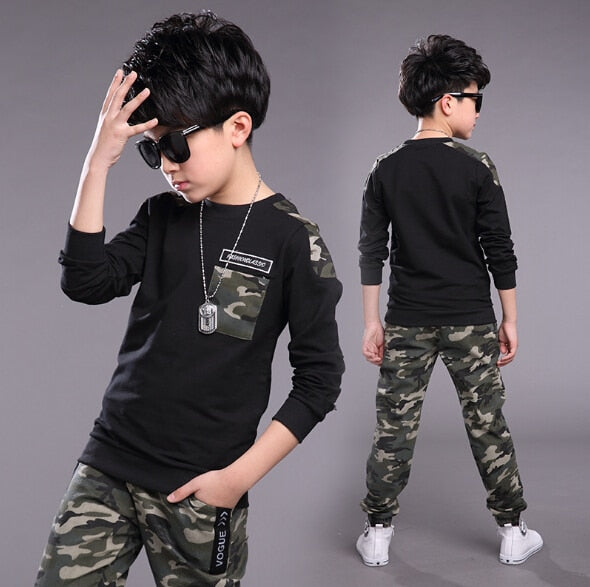 Best Selling Boys Clothing Set Camouflage Sports Pants and Long Sleeve T-Shirt