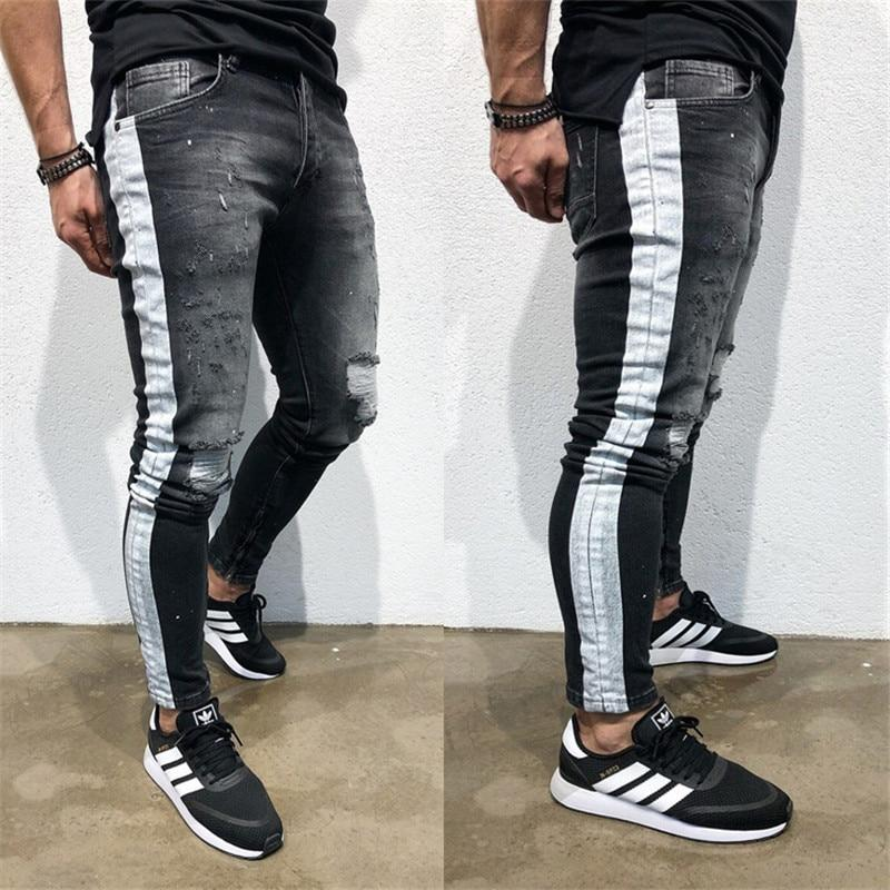 Men S Fashion Stretchy Ripped Skinny Jeans Destroyed Denim Pants Kidenhouse
