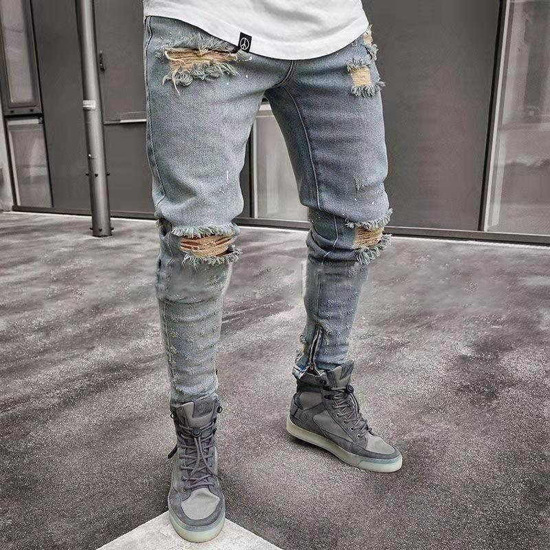 Men Jeans Distressed Slim Fit Stretch Ripped Jeans