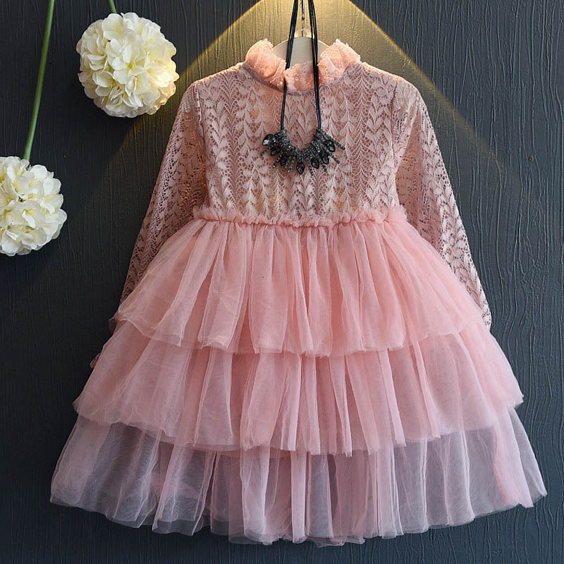 Beautiful Toddler Girl Long Sleeve Lace Tutu Party Dress