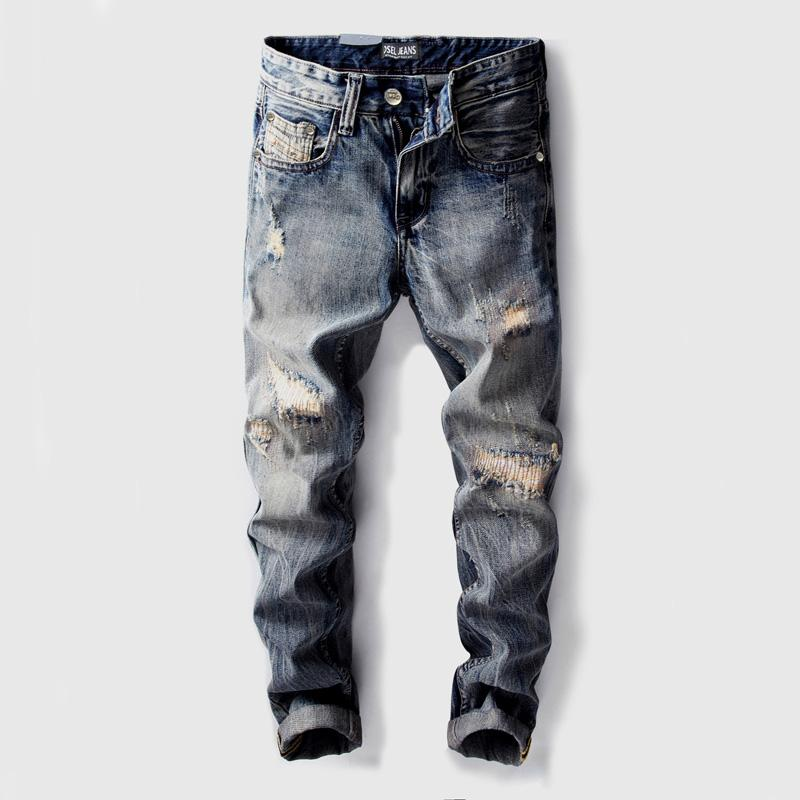 Fashion Vintage Designer Men Jeans Straight Fit Destroyed Ripped Jeans
