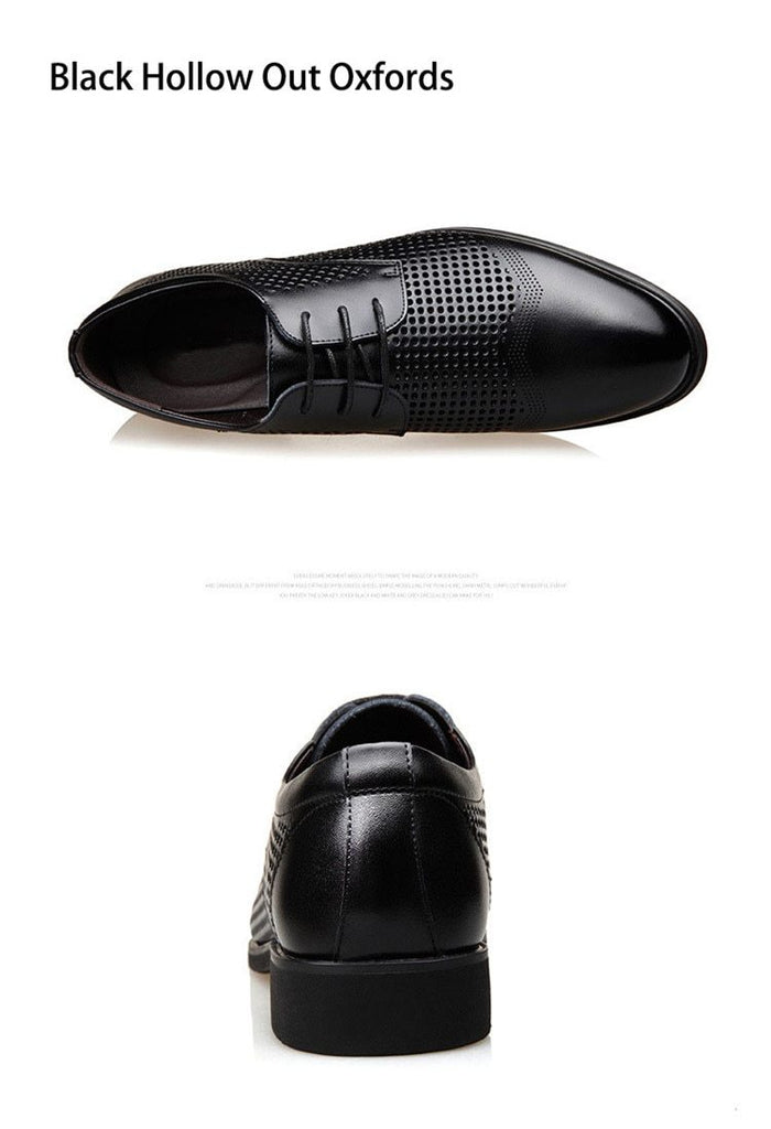 Men Dress Shoes Genuine Leather Hollow Out Brogue Leather Oxford Shoes
