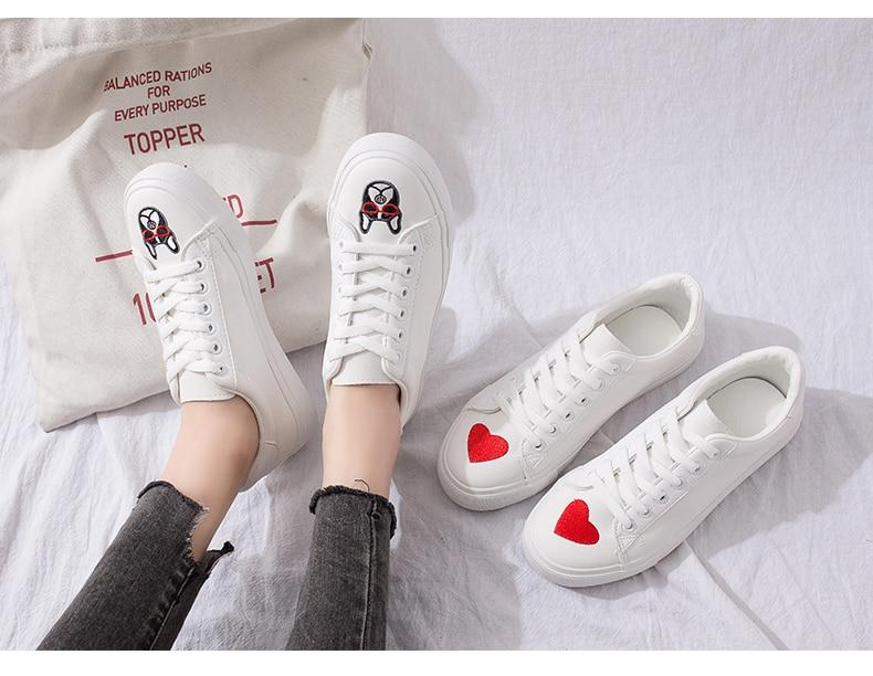 HOT Women Sneakers Fashion Breathble Vulcanized Shoes Leather Platform Shoes