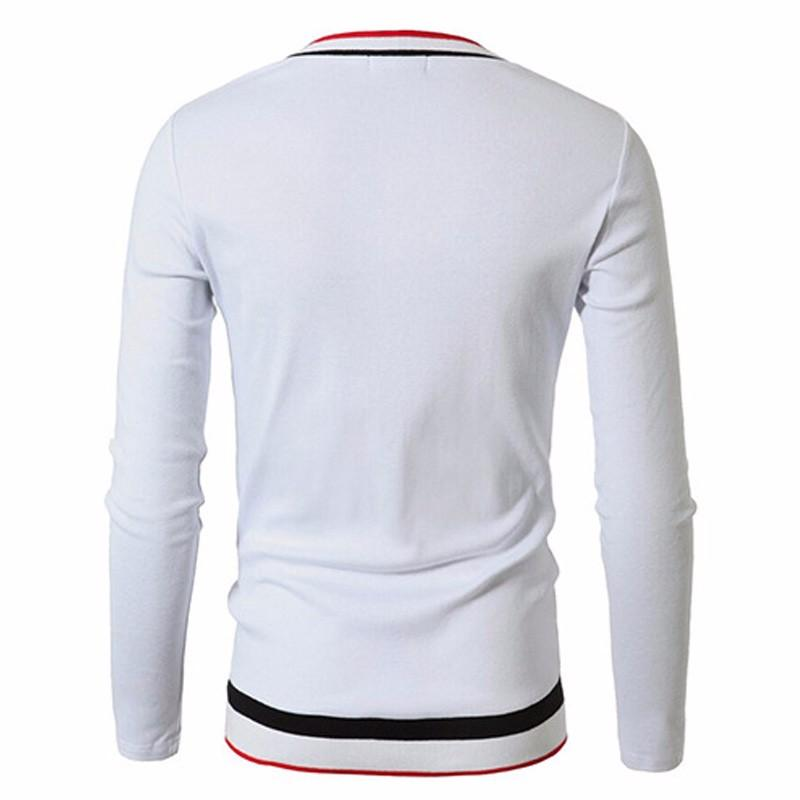Brand Designer Men Long Sleeve Slim Fit V Neck Striped T-shirt