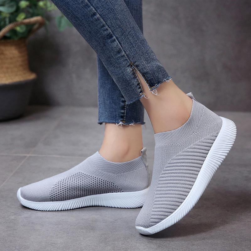 Women Knitted Mesh Vulcanized Shoes Casual Slip on Sneakers
