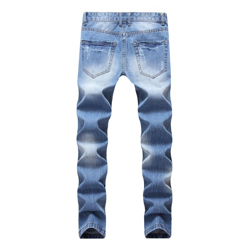 New Fashion Men Holes Jeans High Street Biker Hip Hop Ripped Skninny Jeans