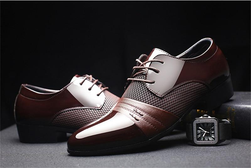 Men Dress Shoes Luxury Leather Brand Design Breathable Banquet Oxford Shoes