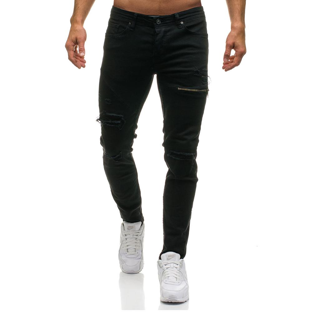 Fashion Streetwear Men's High-grade Vintage Skinny Destroyed Ripped Jeans
