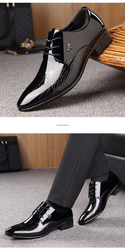 Men dress shoes italian designer luxury patent leather pointed toe formal shoes