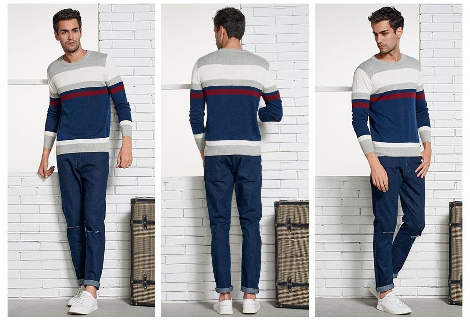 Men Sweater Top Brand Fashion Casual Striped Cotton  O-Neck Sweaters