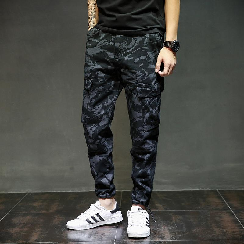 European American Fashion Streetwear Men Jogger Pants Brand Design Ankle Banded Tied Jeans