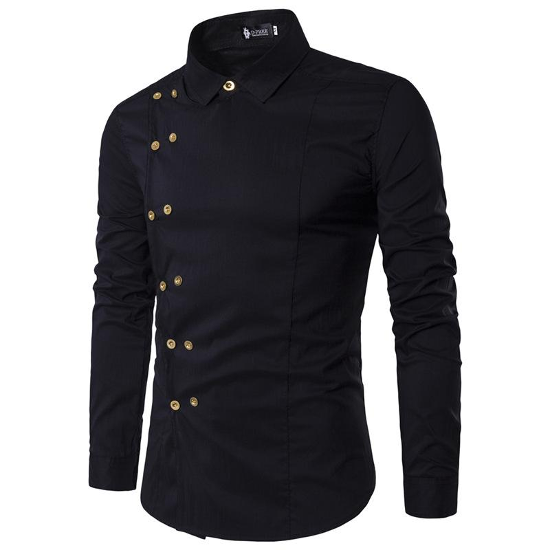 Men Fashion Casual Double Breasted Long Sleeve Shirt