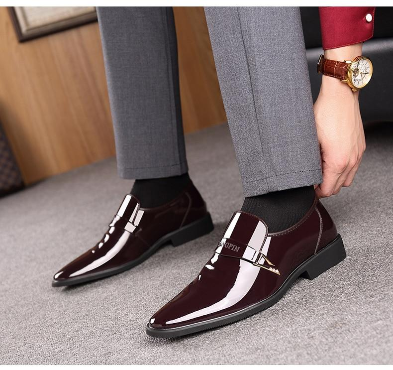 Men Dress Shoes Italian Stylish Luxury Leather Moccasin Glitter Formal Shoes