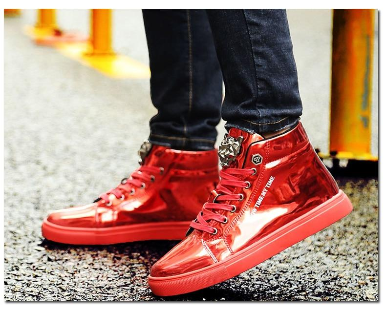Men High Top Sneakers Italy Brand Design Luxury Leather Casual Shoes
