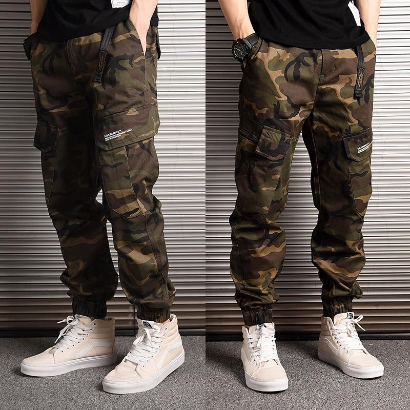 Fashion Streetwear Men Jeans Camouflage Military Loose Big Pocket Cargo Pants
