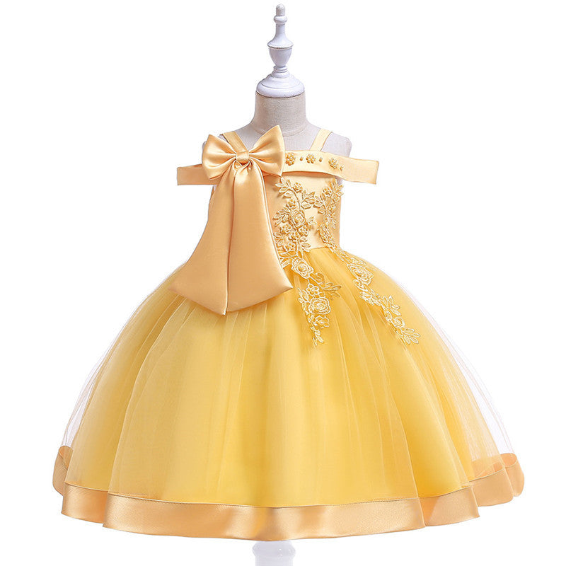 Toddler Girls 3D Flower Silk Princess Party Dress