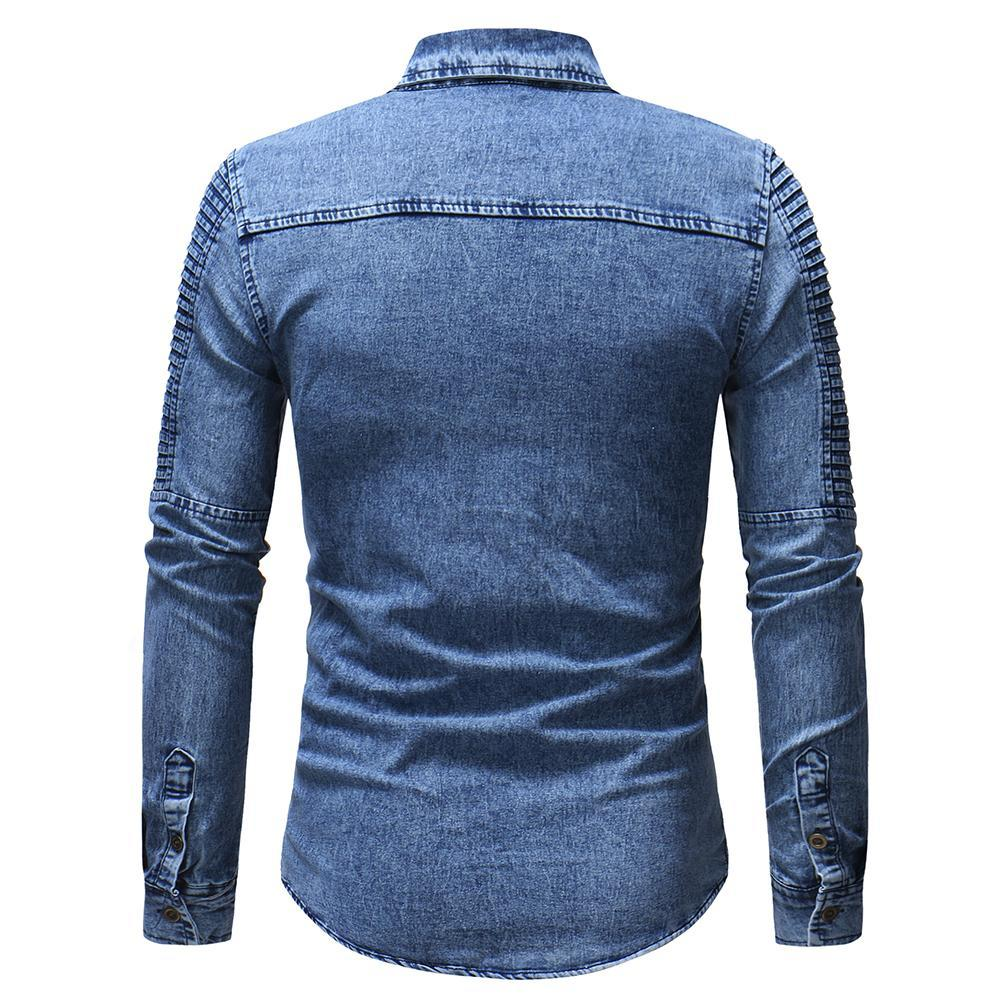 Men's Washed Pleated Pocket Single-breasted Denim Shirt