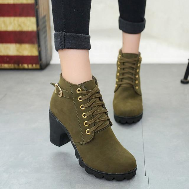 Hot Fashion Women Ankle Boots High Heel Lace Up Buckle Platform Premium Leather