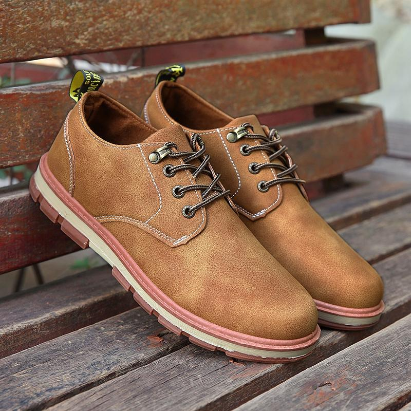 Men Formal Shoes Retro Thick Bottom Lace Up Oxford Shoes