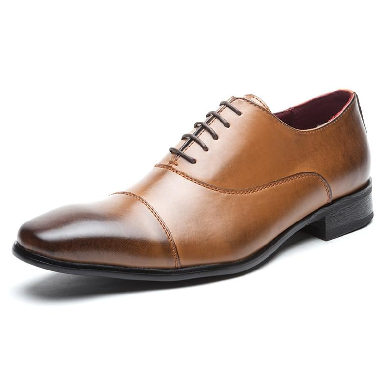 Men Dress Shoes Handmade Genuine Leather Lace Up Brogue Oxford Shoes