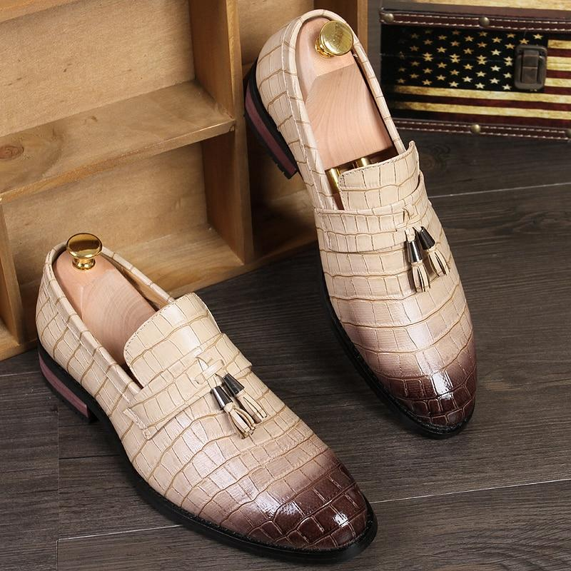Men Dress Shoes Pointed Toe Leather Italian Style Formal Shoes