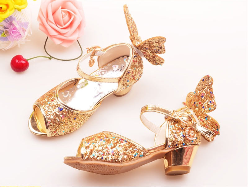 Girls Rhinestone Butterfly High Heel Princess Shoes