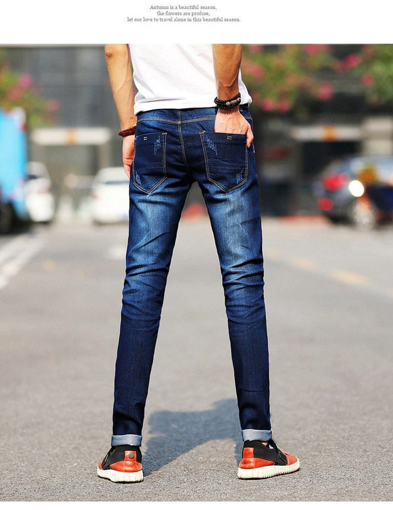 Fashion Men's Jeans Slim Fit Simple Elastic Stretch Classical Jeans