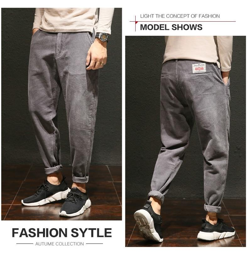 Hot Fashion Corduroy Pants Men Cotton Loose Baggy Harem Pants