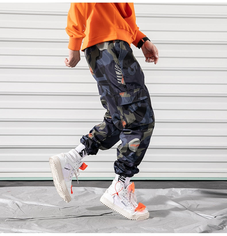 Men Camouflage Street Style Multi Pockets Sweatpants