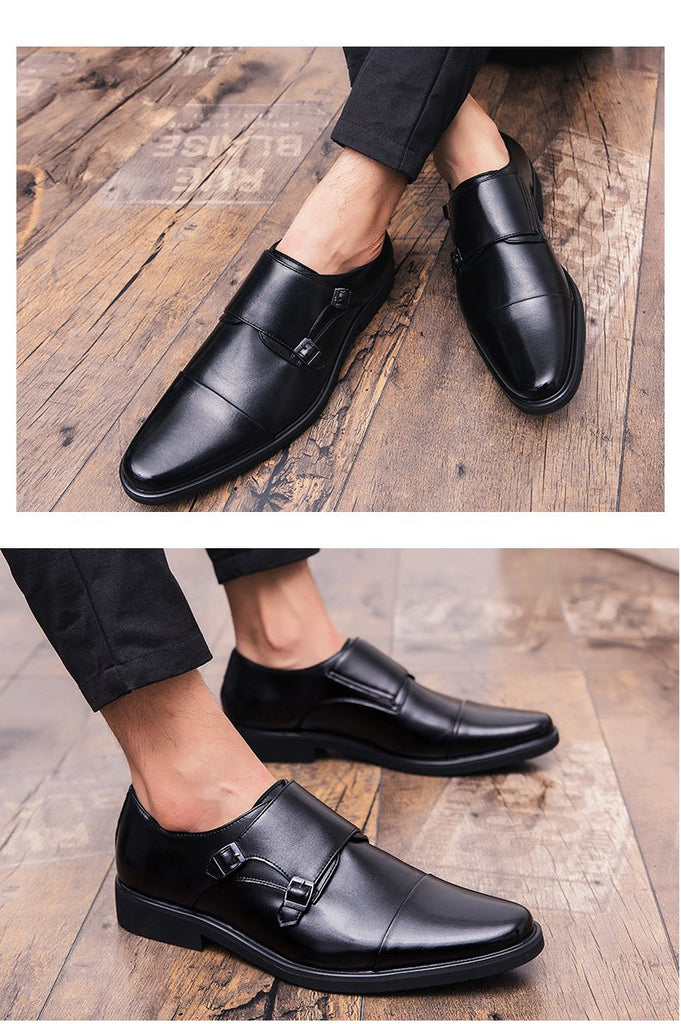 Men Dress Shoes Double Monk Strap Genuine Leather Classic Oxford Shoes
