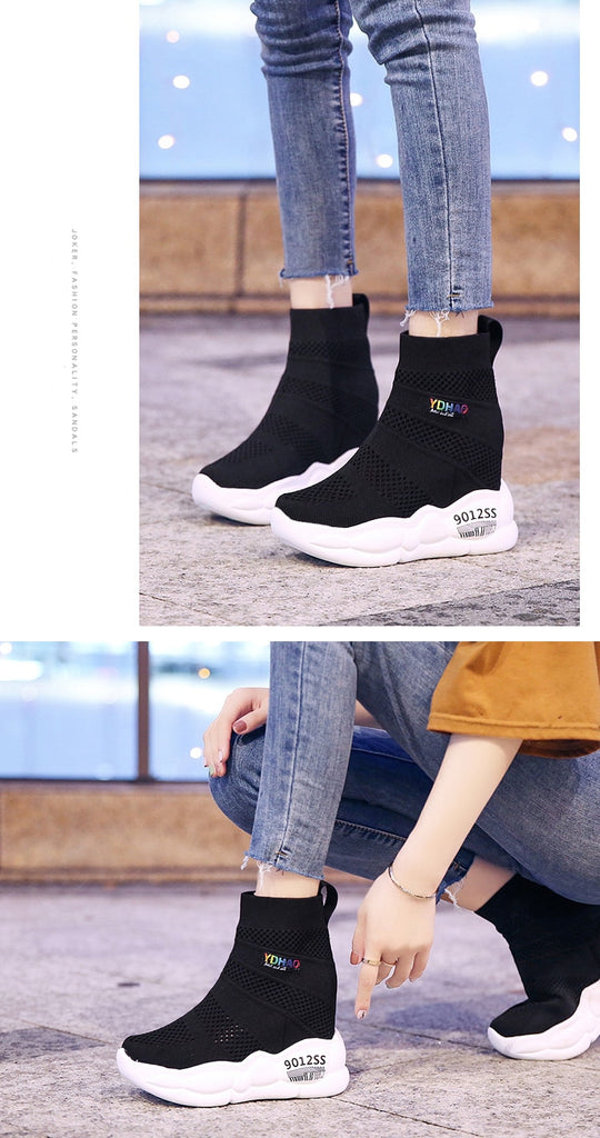 Women Socks Shoes Comfortable High Wedge Heels Platform Sneakers