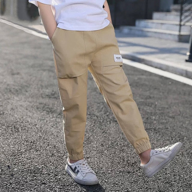 New Design Boys Cotton Splicing Large Pockets Casual Pants