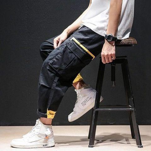 Men Pockets Cargo Pants Patchwork Hot Fashion Tactical Streetwear