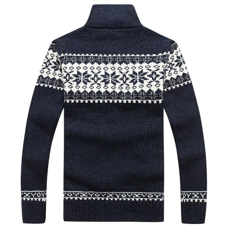 Men Sweater Cashmere Slim Fat Wool Knitted With Fashion Zipper