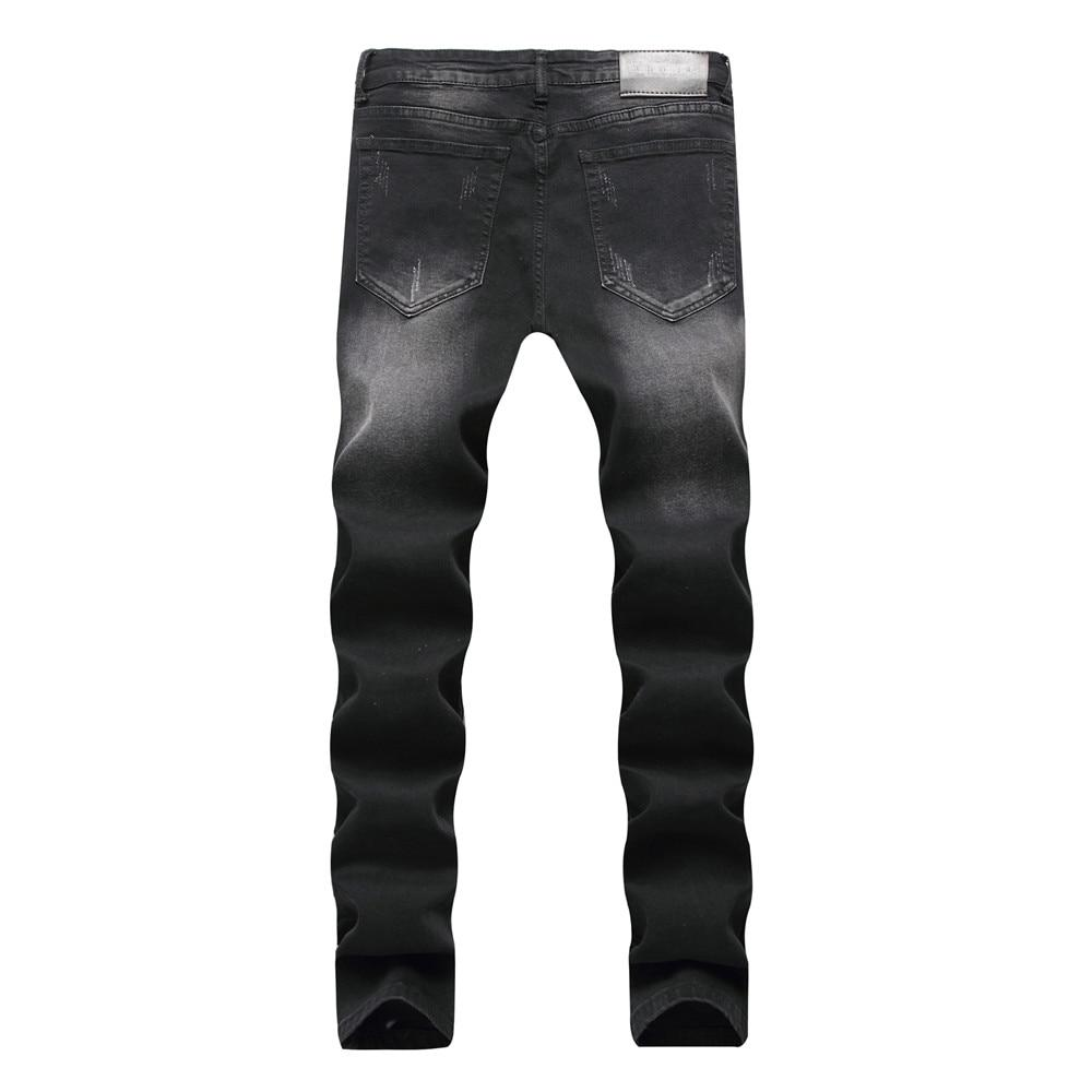 Fashion Men Ripped Distressed Straight Skinny Jeans Hip Hop Style