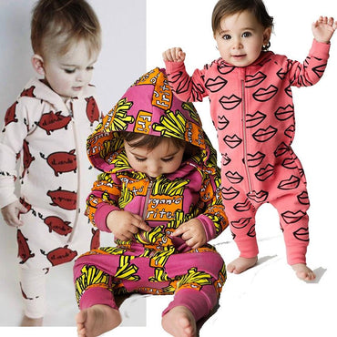 New Infant Newborn Baby Boys Hooded Cotton Romper