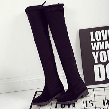Women Thigh High Boots Over The Knee Flat Stretch Sexy Fashion