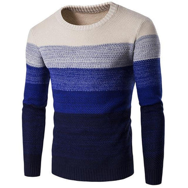 Men Sweater Fashion Brand O-Neck Striped Slim Patchwork Sweater