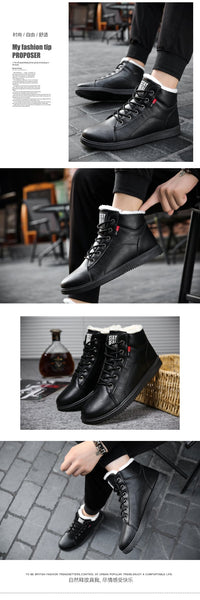 Men Boots Autumn Winter Leather With Fur Plush Warm Basic Boots