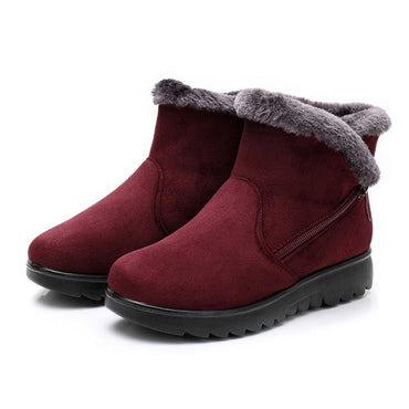 Women Snow Boots Warm Short Fur Plush Platform Suede Zip Ankle Boots