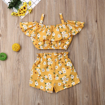 Baby Girl Clothes Set Ruffle Crop Tops and Flower Shorts Infant Girl Outfits Set