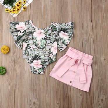 Baby Girl Clothes Set Flower Romper Tops and Mini Skirt Infant Girl Outfits Set