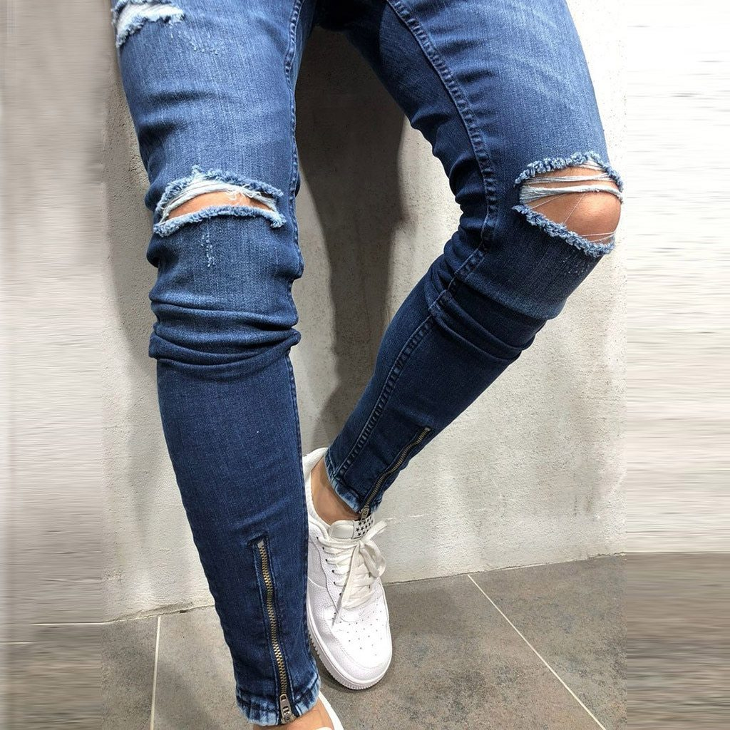 Fashion Men Skinny Jeans Sport Jogging Pocket Hole Zipper Casual Loose Stretch Jeans
