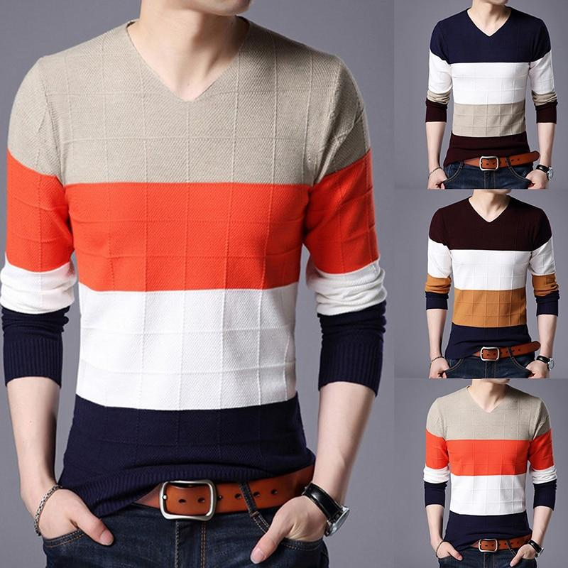 Men Pullover Striped Thick Warm Cotton Knitted Sweater