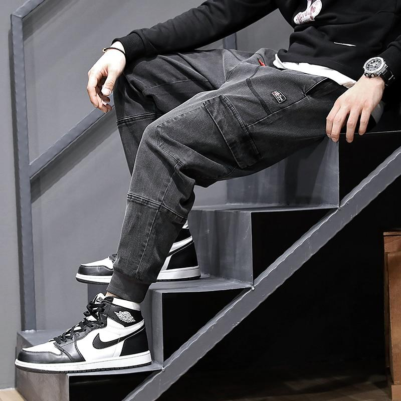 Men Jeans Fashion Streetwear Vintage Black Gray Loose Joggers Jeans